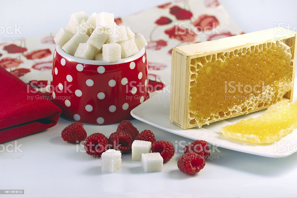 honeycomb and sugar cubes royalty-free stock photo