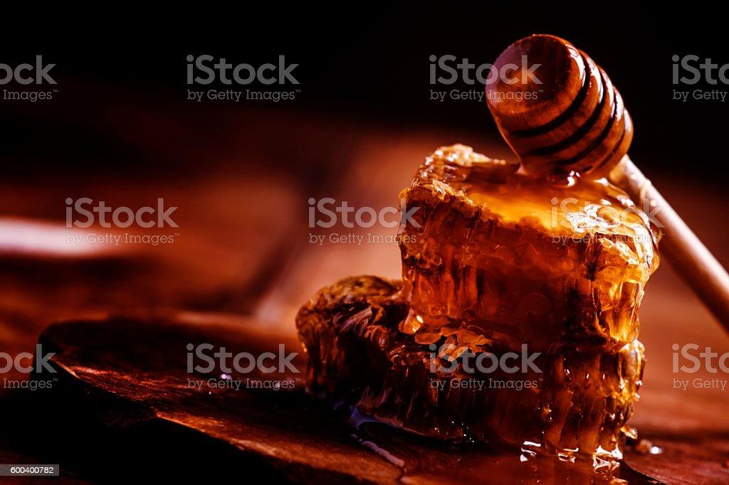 Honeycomb, vintage wooden background stock photo