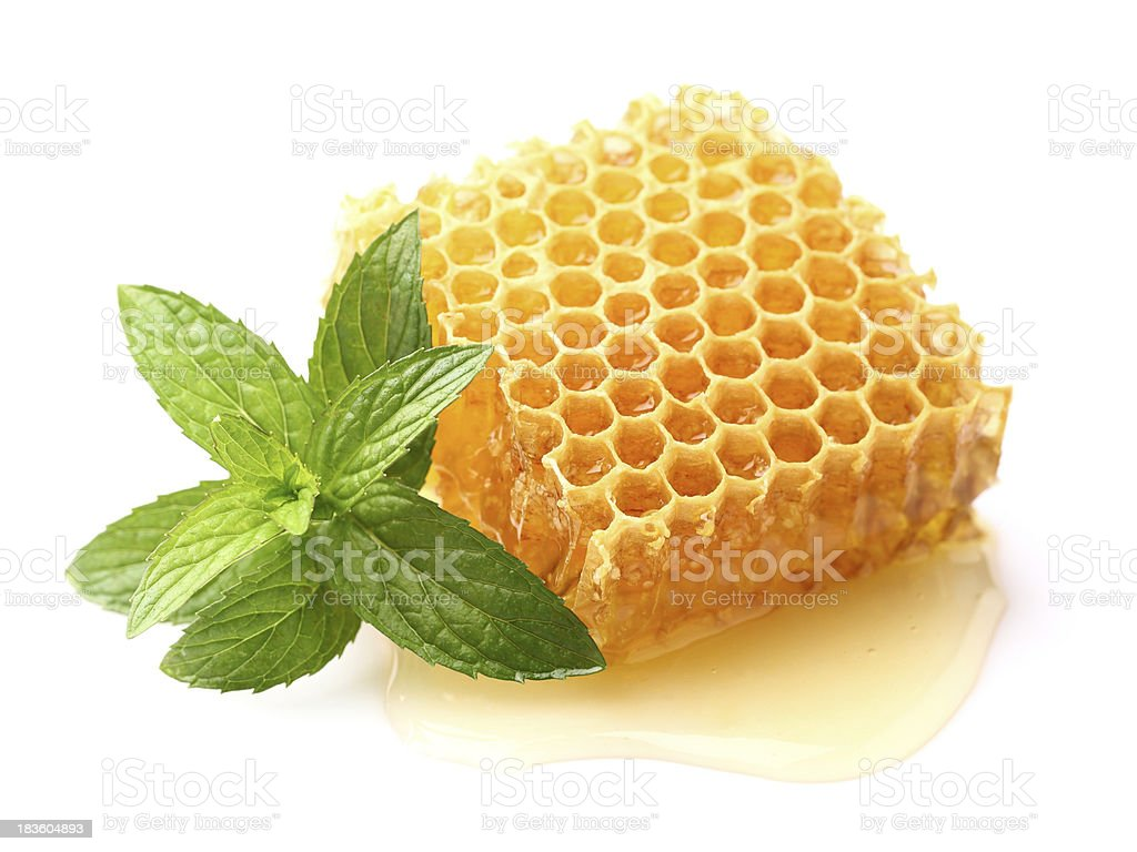 Honeycomb with mint royalty-free stock photo