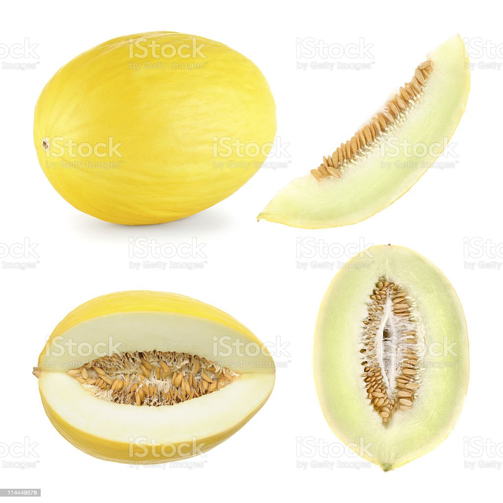 Honeydew melon cut in 4 different shapes royalty-free stock photo