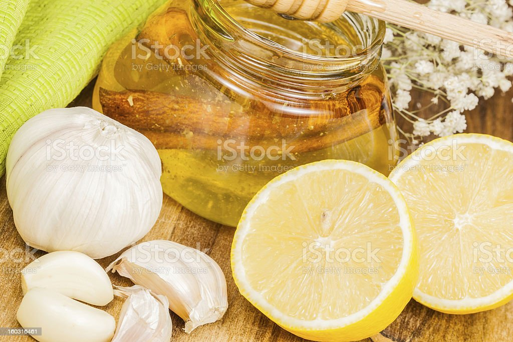 Honey,garlic and lemon. Natural medicine royalty-free stock photo