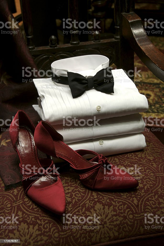 Honeymoon Anniversary Tuxedo Black Tie and Red Heels royalty-free stock photo