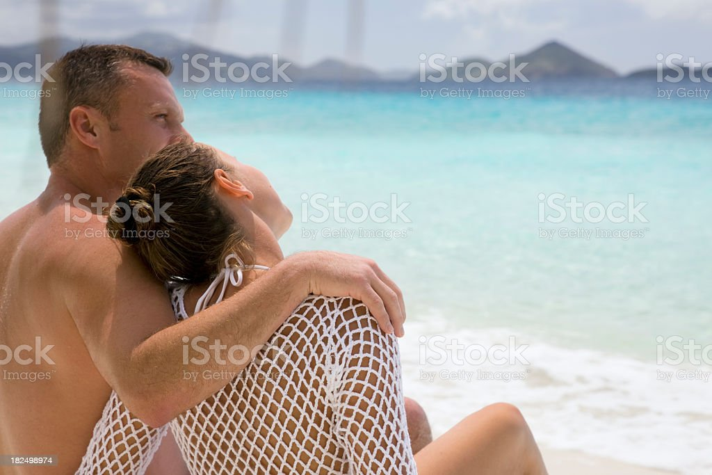 honeymoon couple at the beach in Virgin Islands royalty-free stock photo