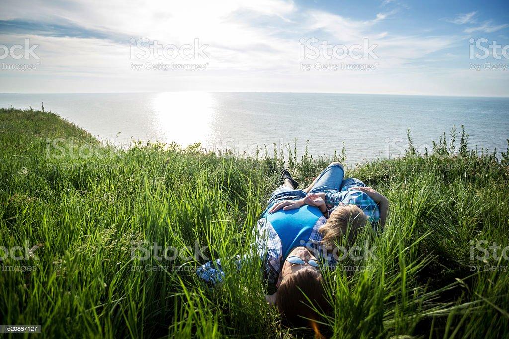 Honeymoon couple on the beach royalty-free stock photo