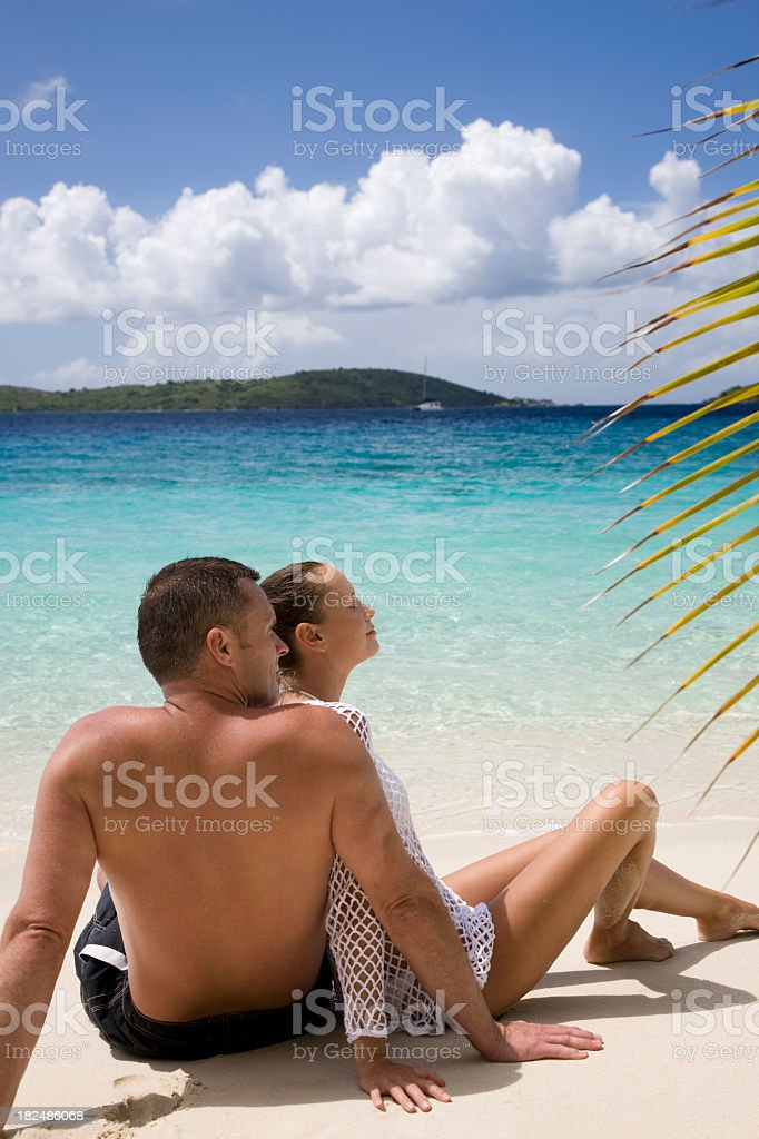 honeymoon couple on the Caribbean beach royalty-free stock photo