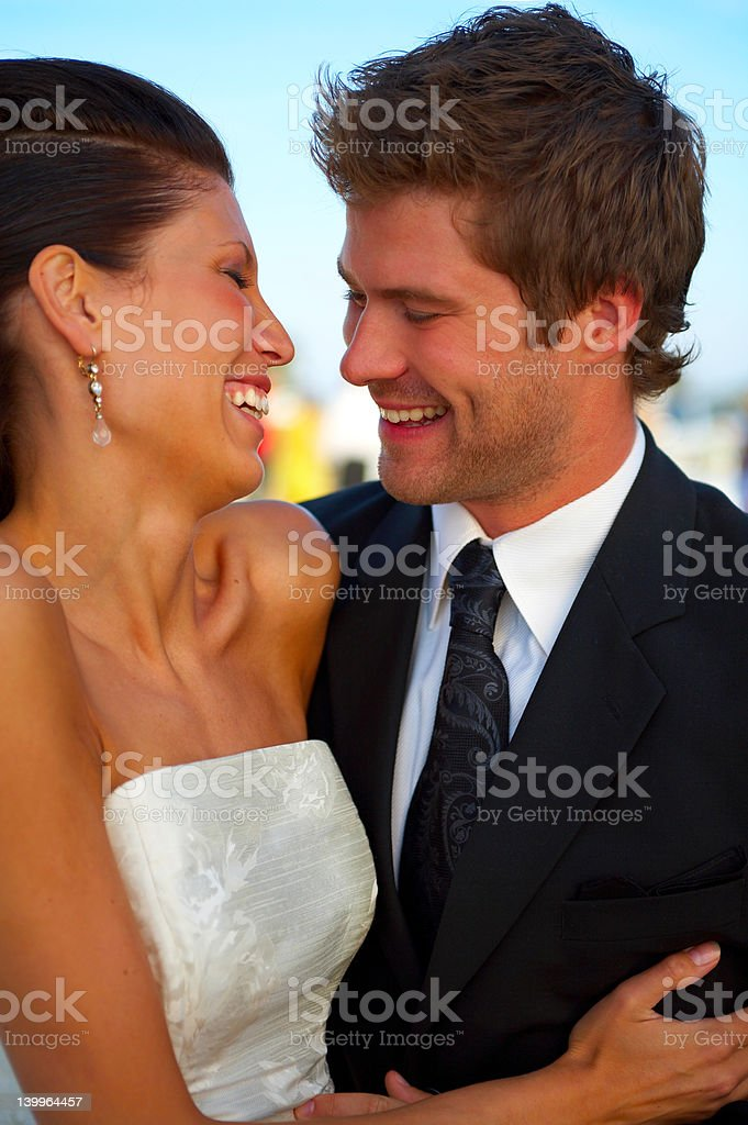 Honeymoon couple smiling royalty-free stock photo