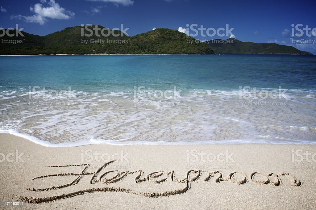 Honeymoon Message Handwritten on Tropical Caribbean Beach stock photo