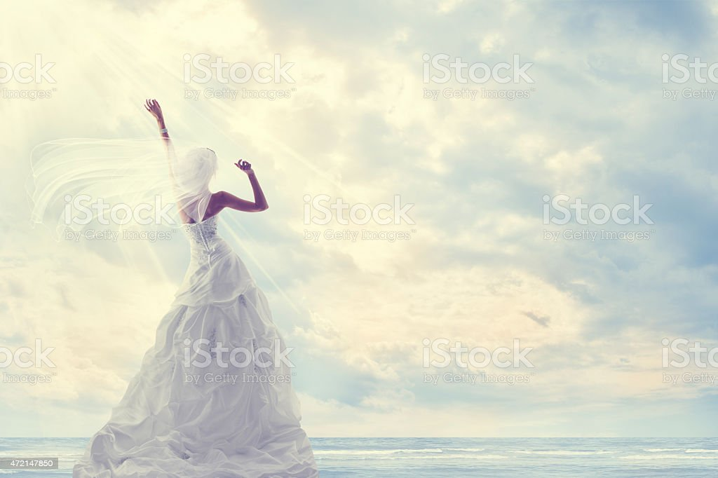 Honeymoon Trip, Bride Wedding Dress, Blue Sky, Romantic Travel Concept stock photo