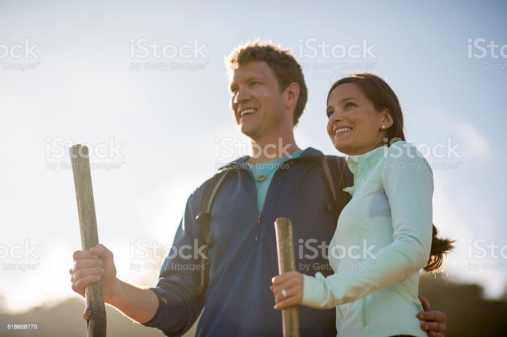 Honeymooners Hiking Together stock photo