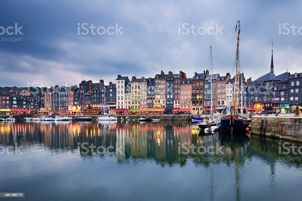 Honfleur after sunset stock photo