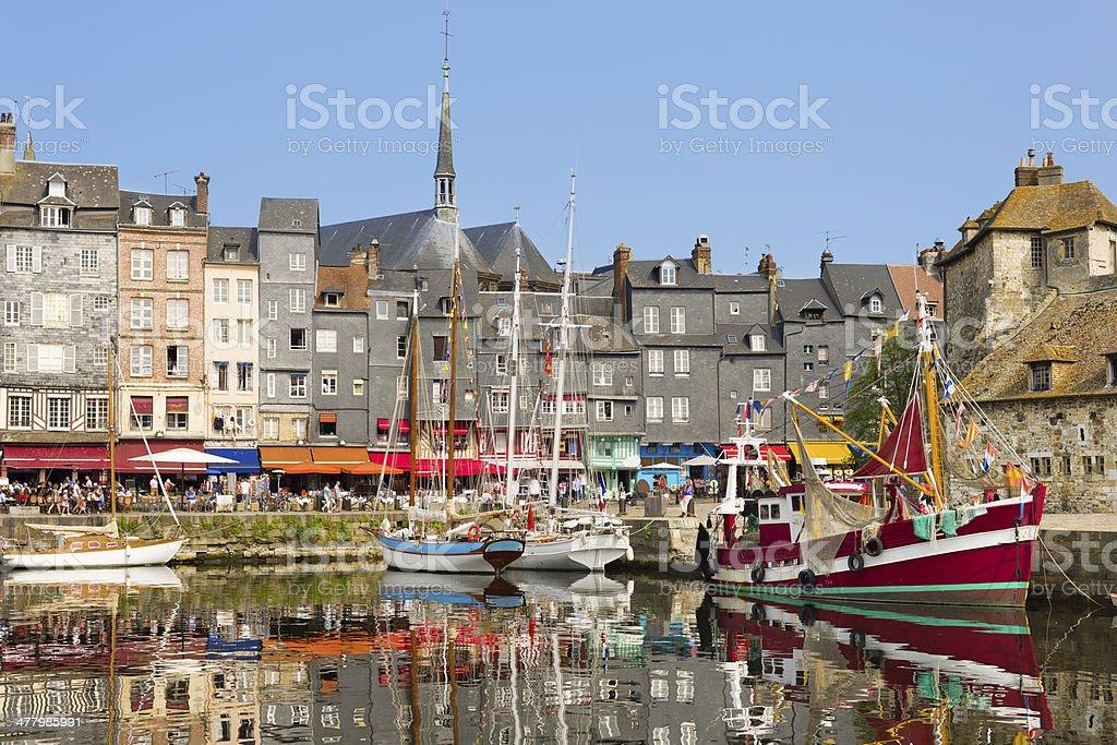 Honfleur harbour stock photo