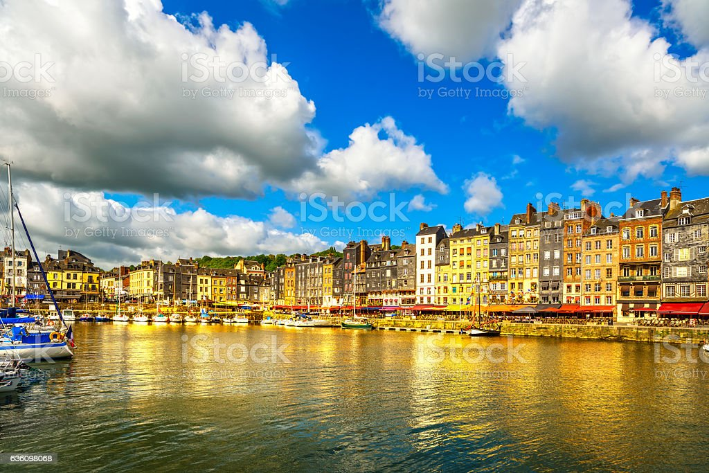 Honfleur skyline harbor and water. Normandy, France stock photo