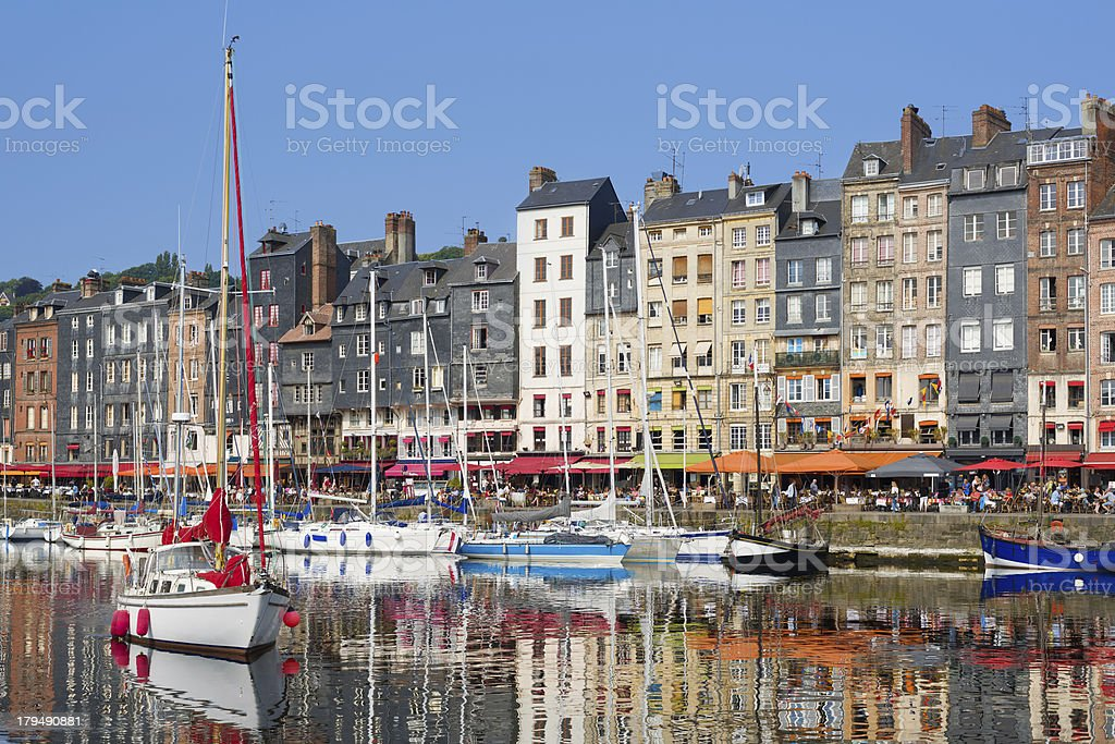 Honfleur yachts at the harbour stock photo