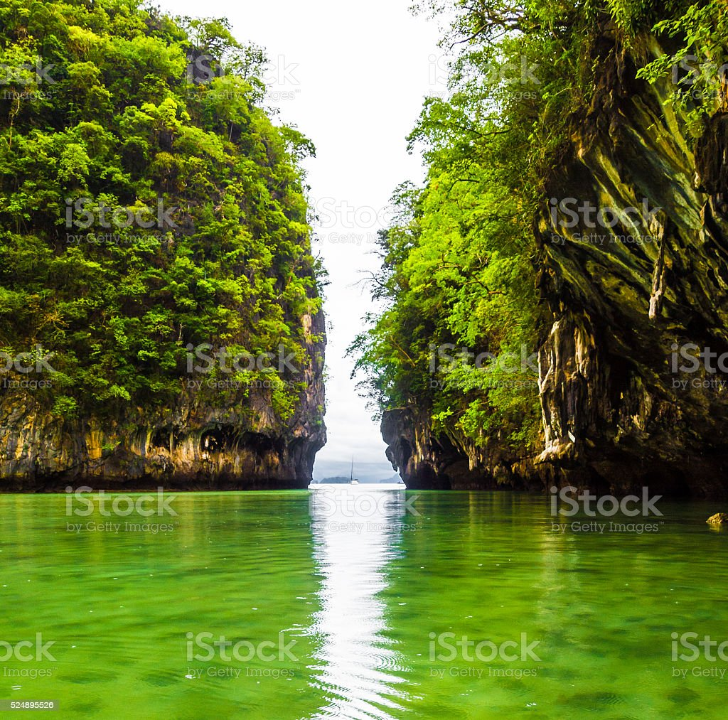 Hong island is famous tour lagoon in Krabi, Thailand. stock photo