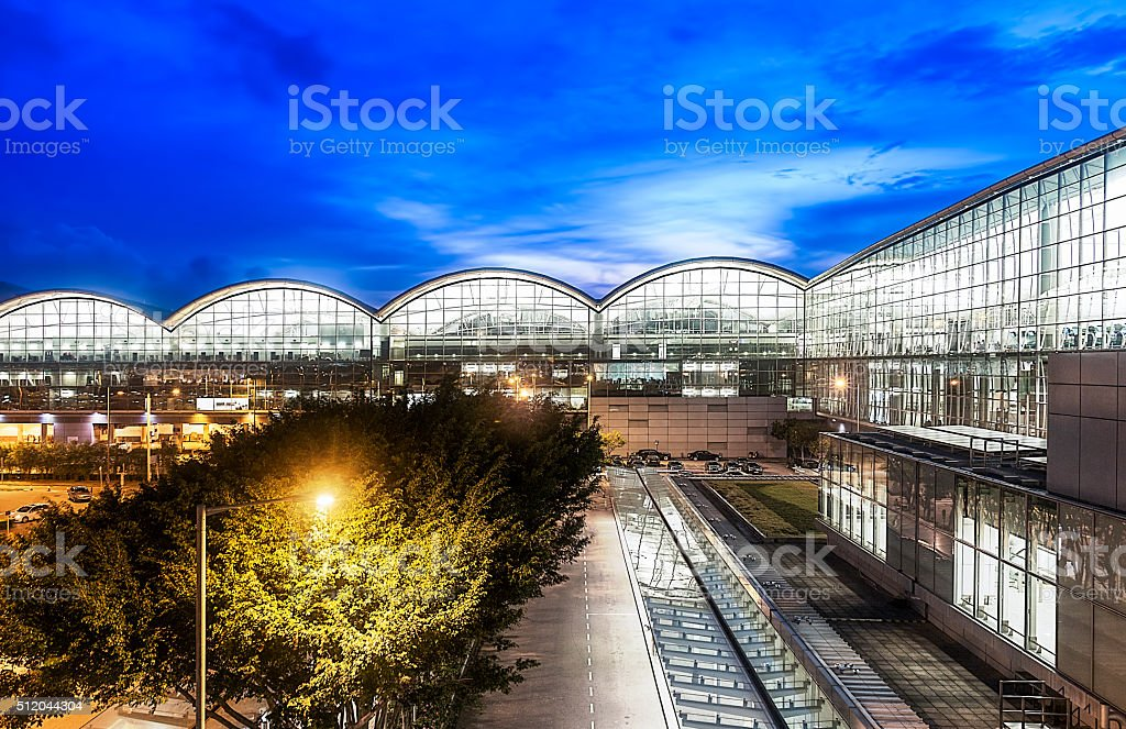 Hong Kong Airport in the Evening stock photo