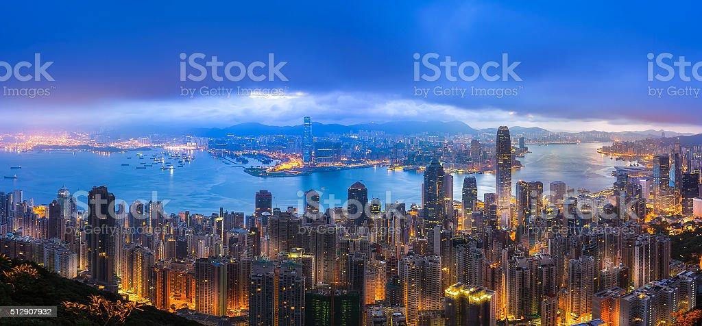 Hong Kong and Kowloon panorama view from Peak stock photo