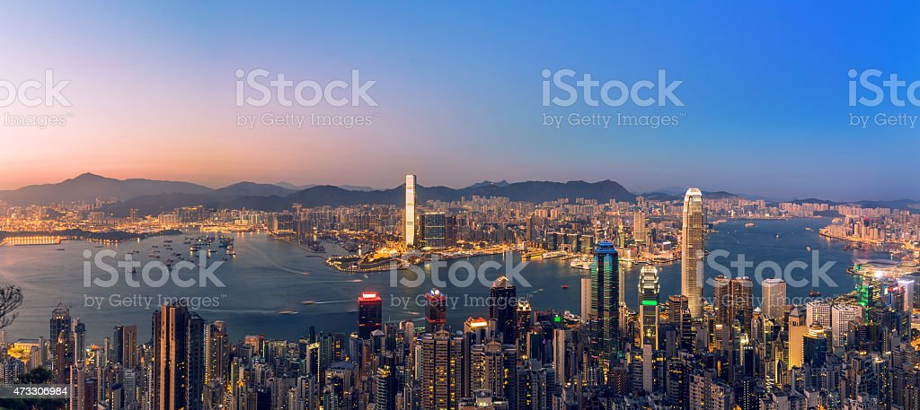 Hong Kong and Kowloon panorama view stock photo