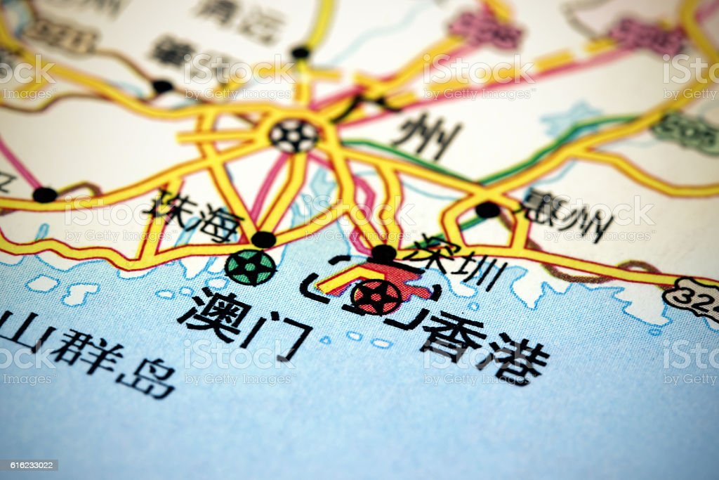 Hong Kong and Macau on map stock photo