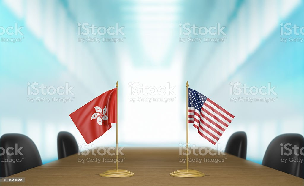 Hong Kong and United States relations and trade deal talks stock photo