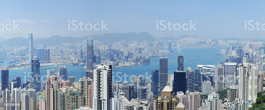 Hong Kong and Victoria Harbour royalty-free stock photo