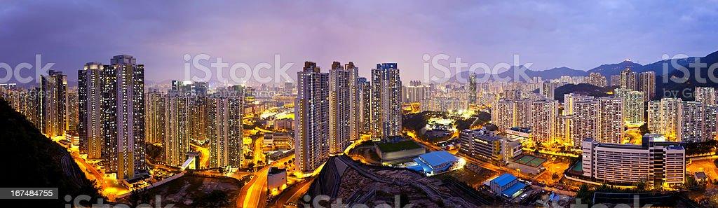 Hong Kong apartments at night, under the Lion Rock Hill. royalty-free stock photo