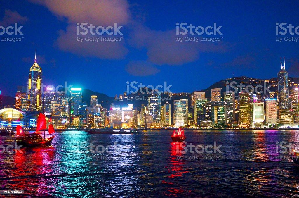 Hong Kong at night from across Victoria Harbor stock photo