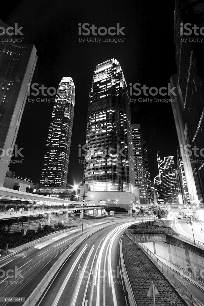 Hong Kong at night in black and white toned royalty-free stock photo