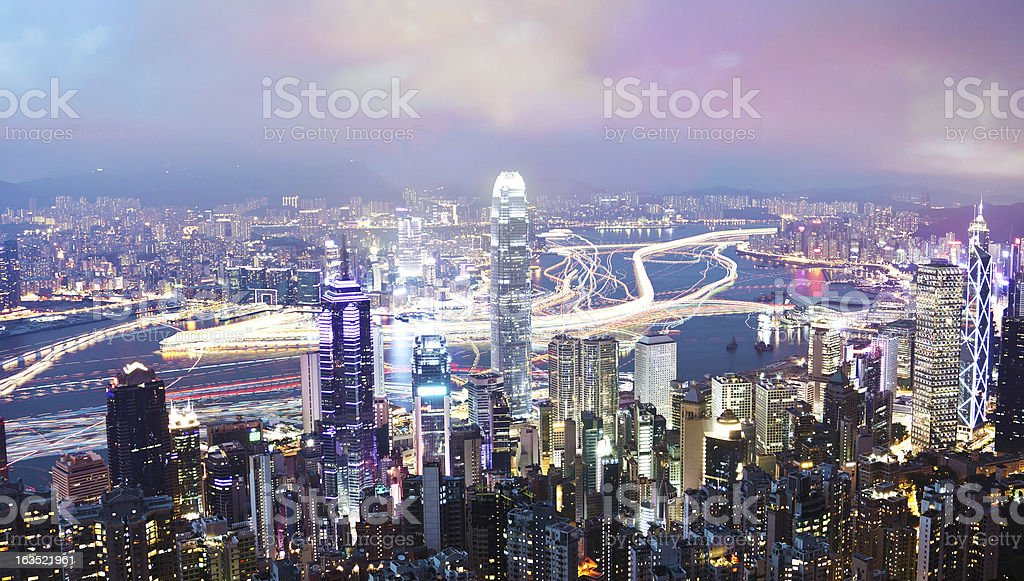 Hong Kong at night, long exposure stock photo
