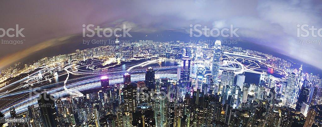 Hong Kong at night, long exposure stock photo
