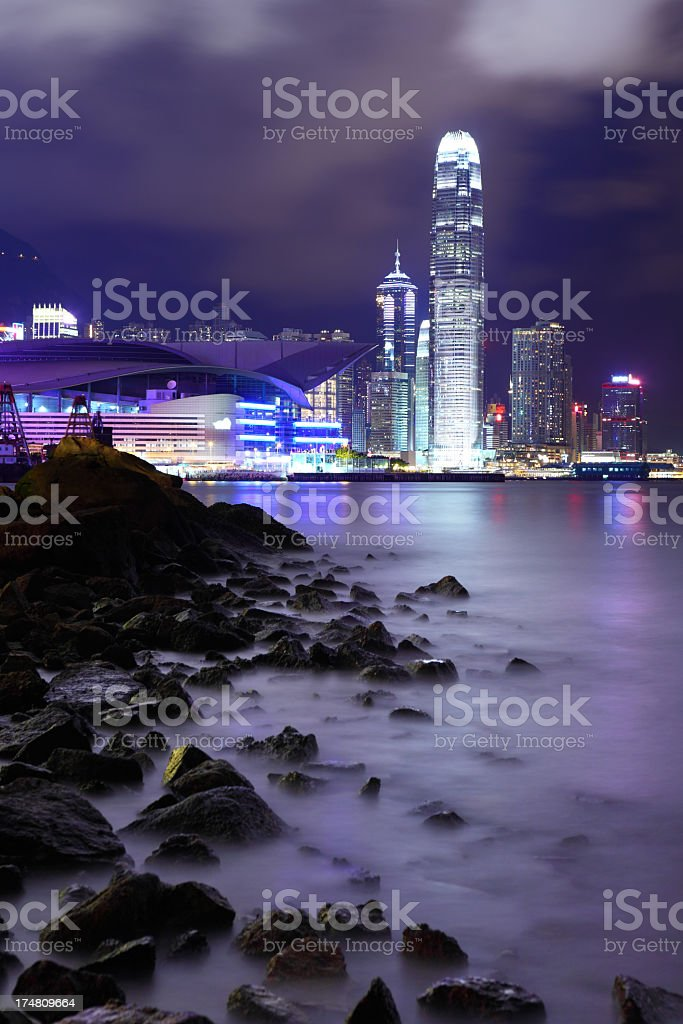 hong kong at night royalty-free stock photo