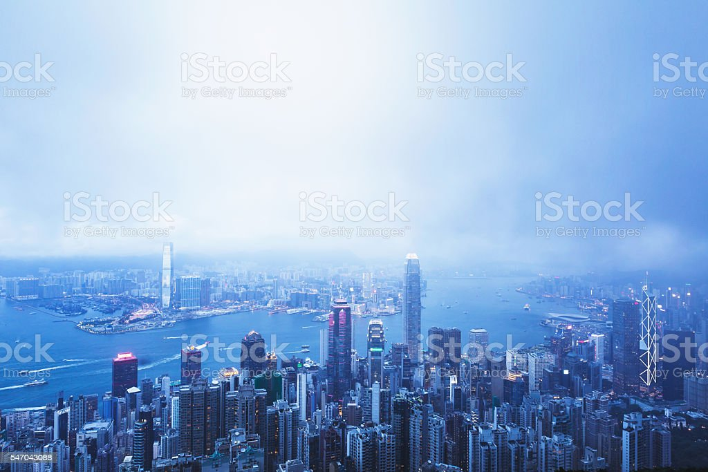 Hong Kong at night Victoria peak view. stock photo