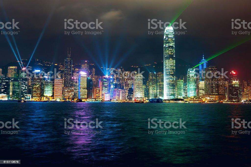 Hong Kong at Night,China. stock photo