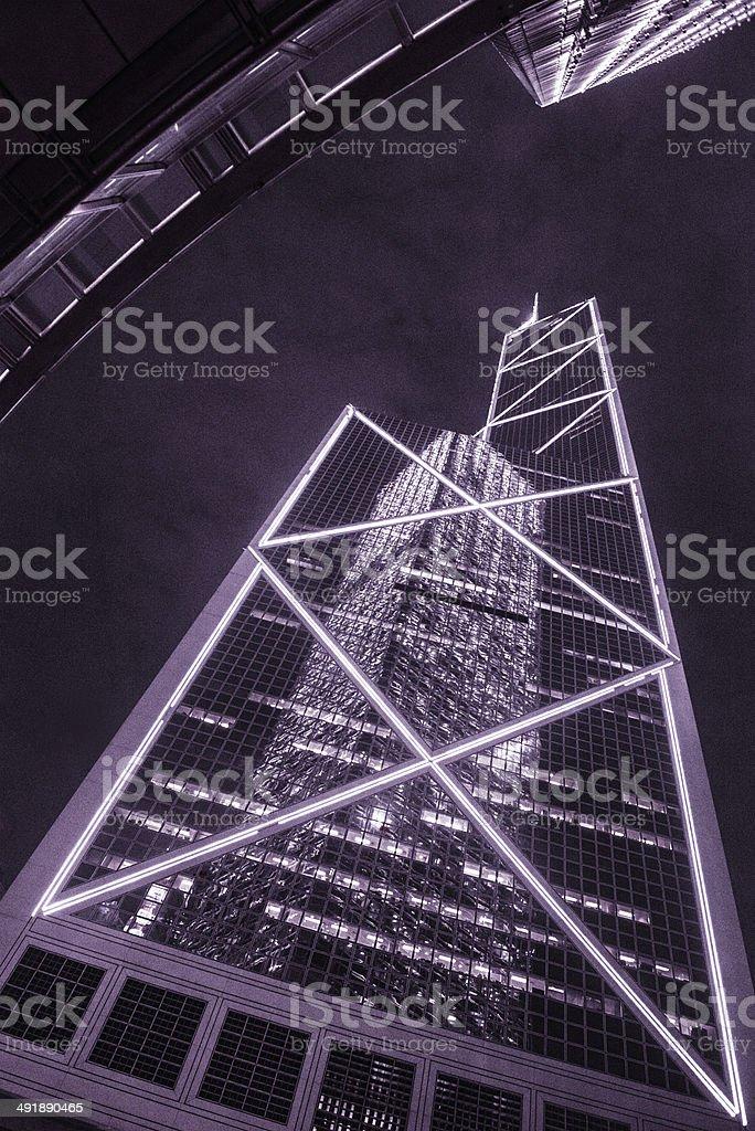Hong Kong Bank of China Tower at Night stock photo