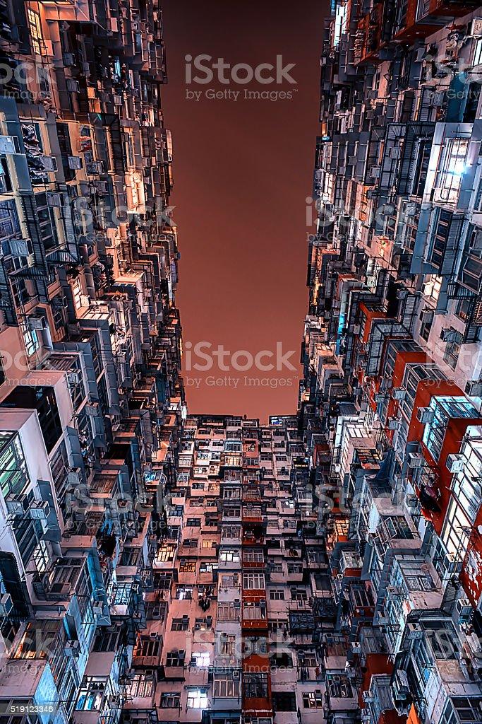 Hong Kong building facade stock photo
