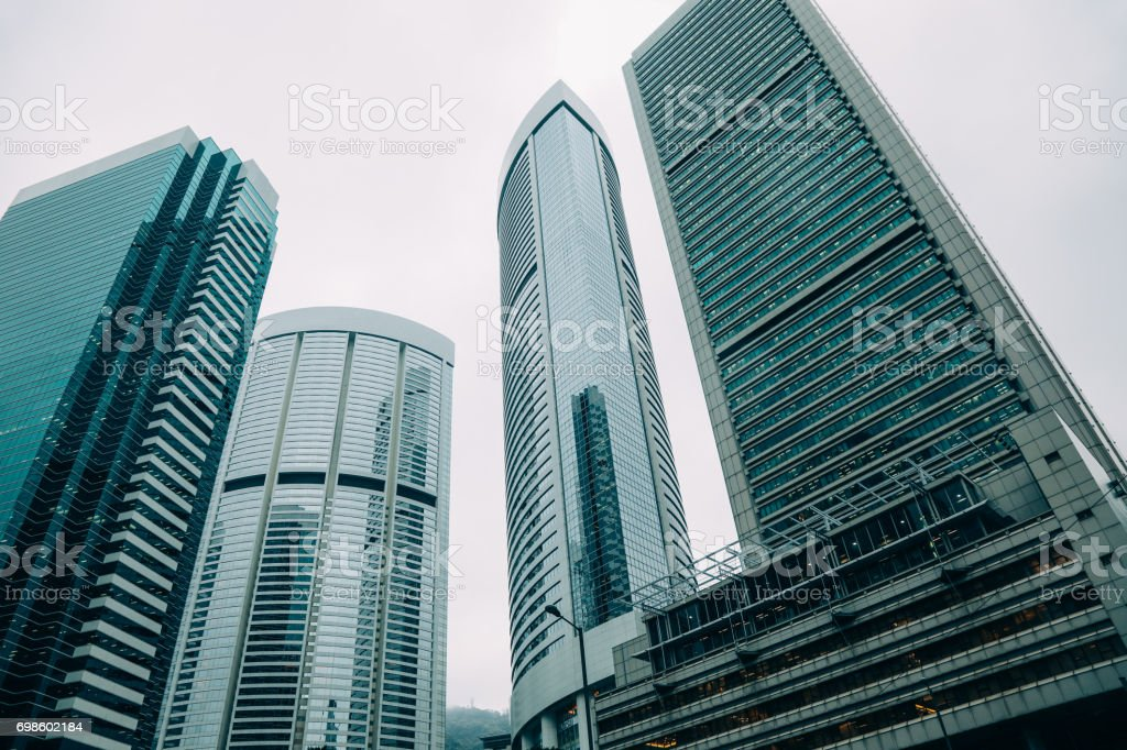 Hong Kong business office building skyscraper stock photo
