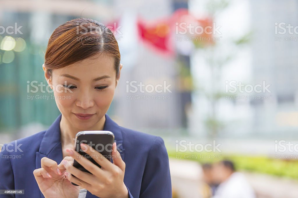 Hong Kong Business Woman Phone stock photo