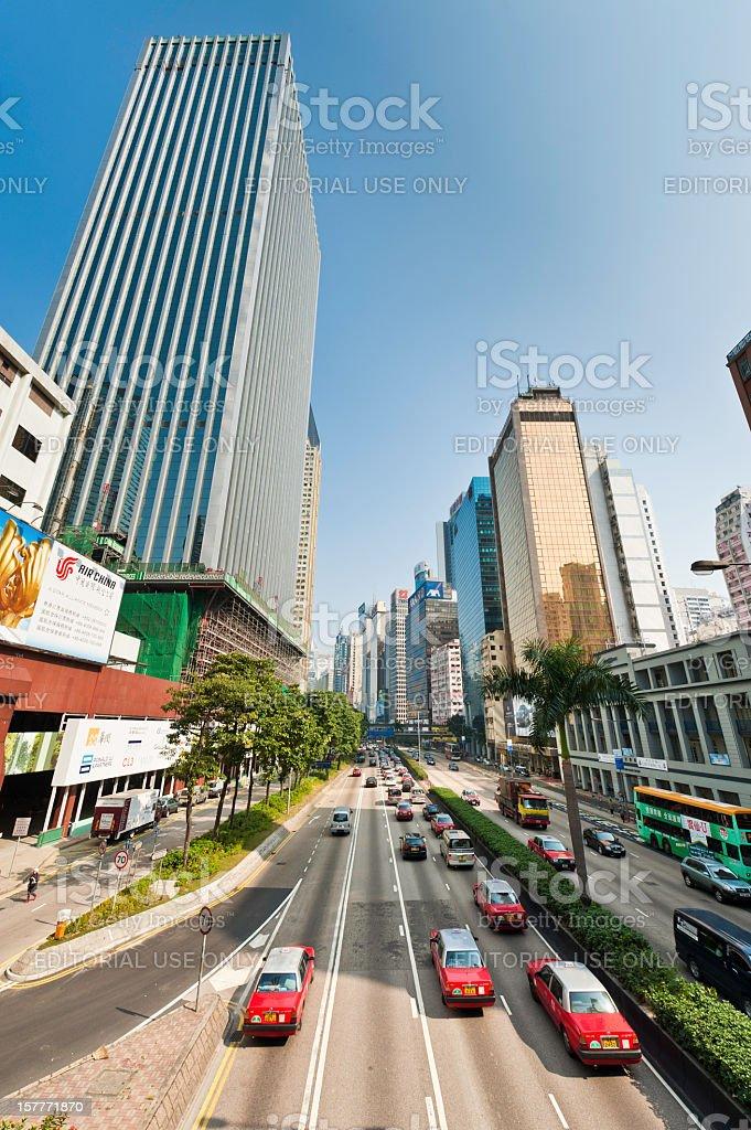 Hong Kong busy traffic highway skyscraper skyline Wan Chai China royalty-free stock photo