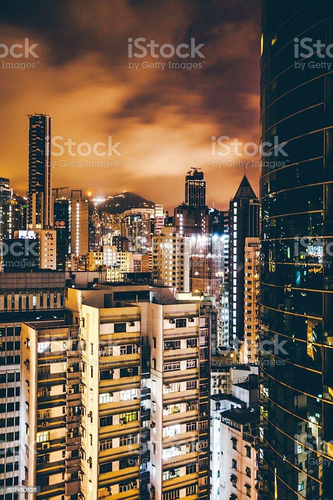 Hong Kong by night. stock photo