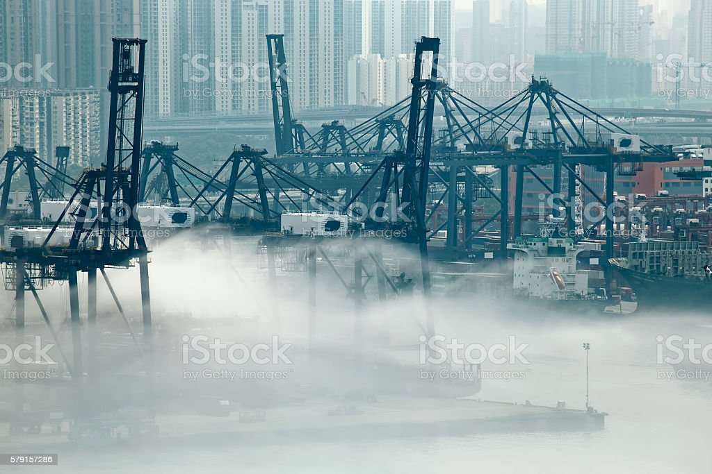 Hong Kong cargo port stock photo