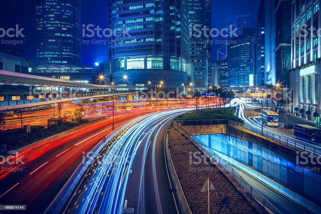 Hong Kong central district at night stock photo