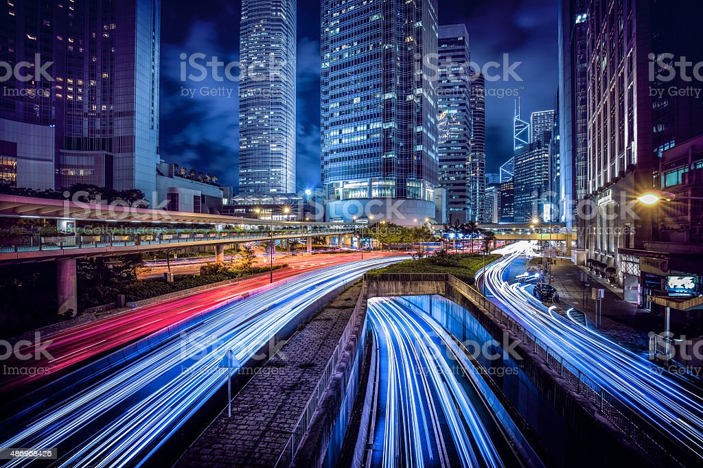 Hong Kong central district at night stock photo
