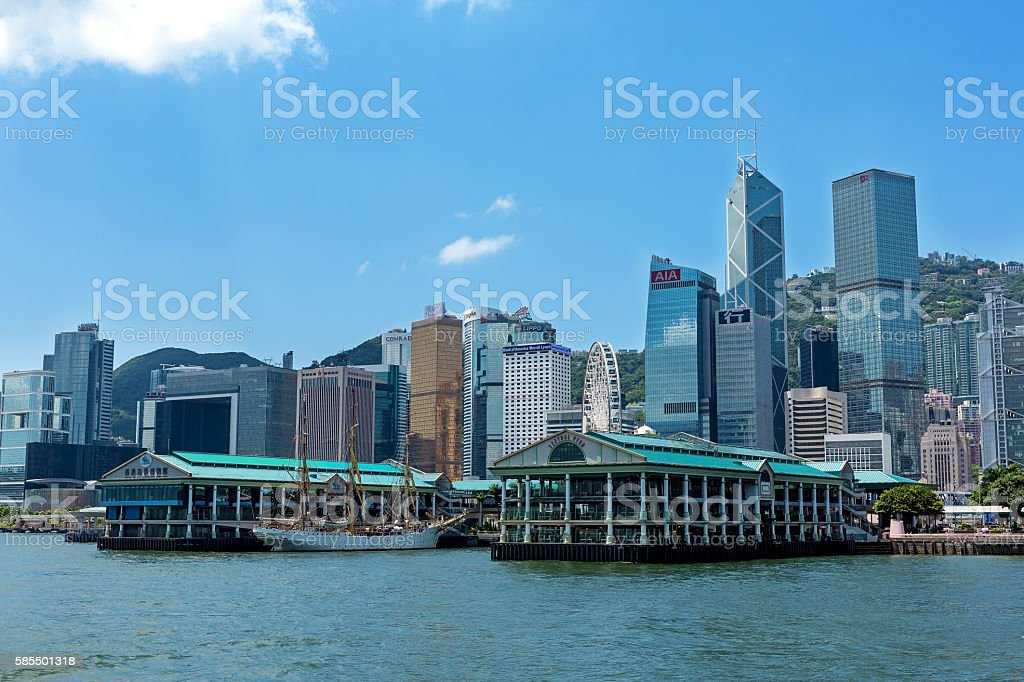Hong Kong Central ferry pier stock photo
