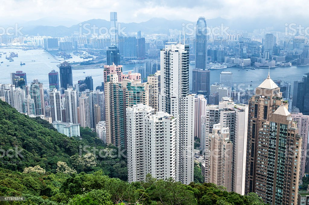 Hong Kong, China, Kowloon, Hong Kong Island from Victoria Peak stock photo