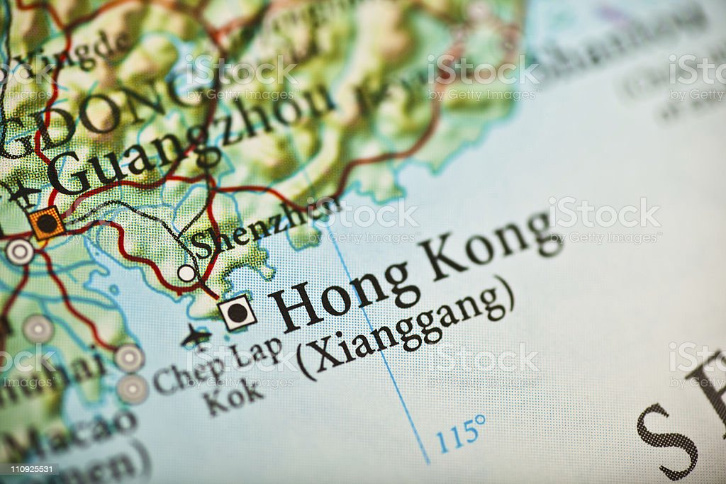 Hong Kong, China map royalty-free stock photo