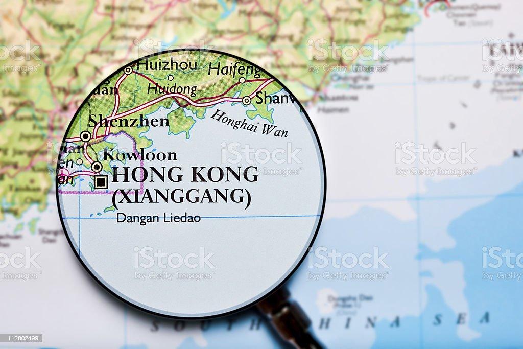Hong Kong, China map stock photo