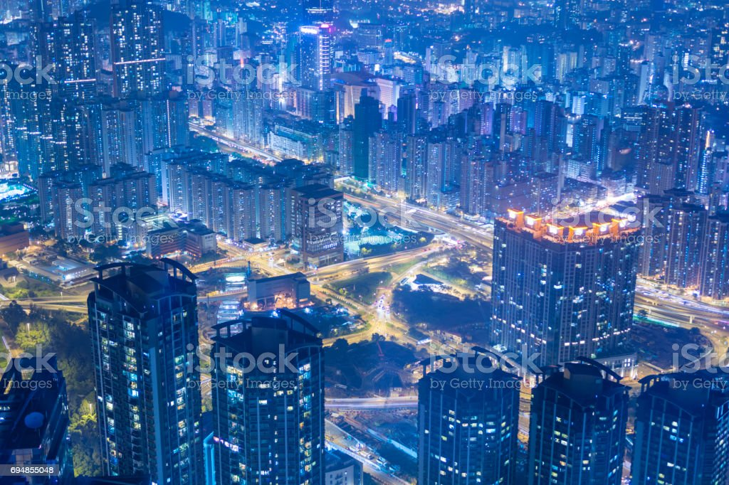 Hong Kong city density residential buildings. stock photo