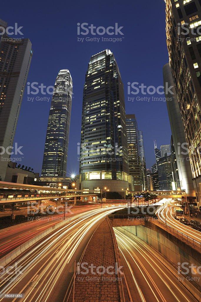 Hong Kong City Night, ifc towers royalty-free stock photo