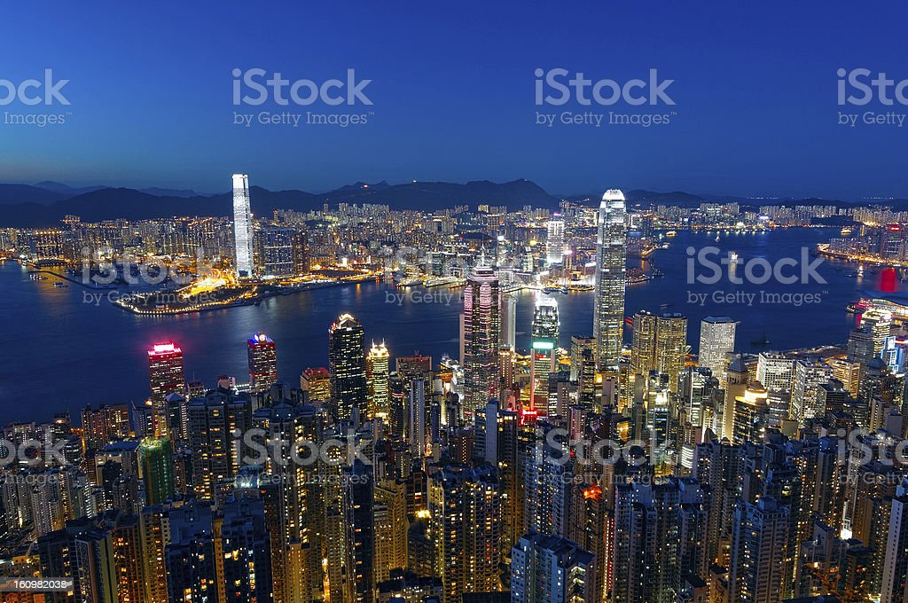 hong kong city night royalty-free stock photo
