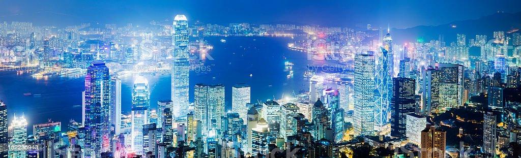 Hong Kong City Skyline at Night China royalty-free stock photo