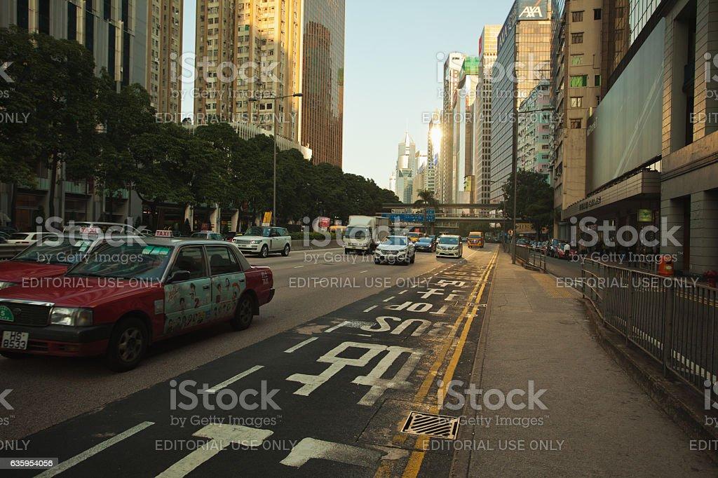 Hong Kong city streets at sunset stock photo